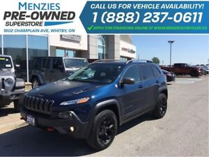2018 Jeep Cherokee Trailhawk Leather Plus ONE OWNER, Clean Carpr