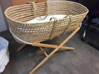 Moses basket with stand, mattress and lace canopy