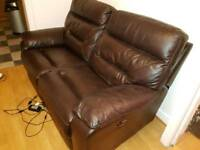 Leather Recliner 3 seater + 2 seater matching electric