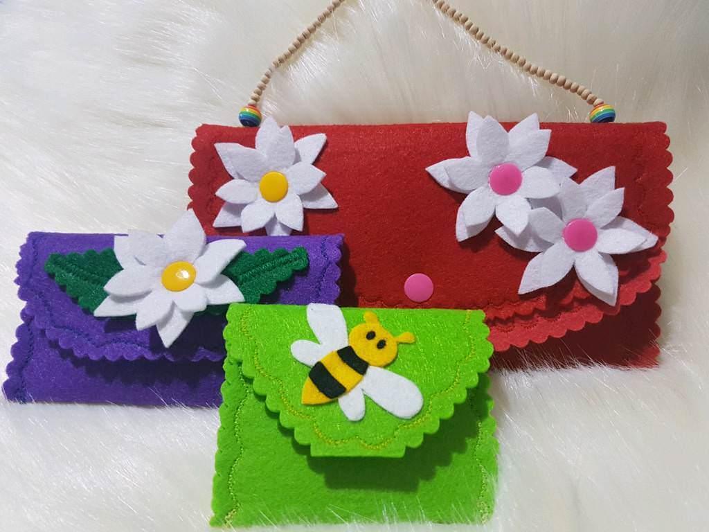 3 pcs Children Felt Bag Handbag Girl Gift Birthday Present Handmade Purse Wallet