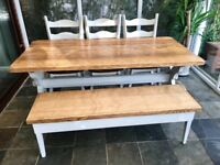 Solid Dutch oak table + bench and chairs - reclaimed 100yrs old wood!