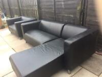 Black corner sofa and matching 2 seater