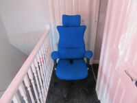 Blue memory foam office chair with adjustable head and arm rests, Excellent Condition cost £1000 new