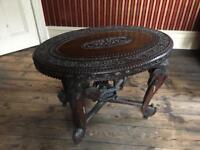 Antique Hand Carved Elephant Table