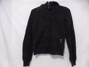 TNA (ARITZIA) size extra small (xs) black zip front coat with removable hoodie and button front GUC