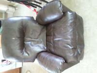 recliner faux leather brown in color