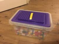 Lots of lego bricks in a box