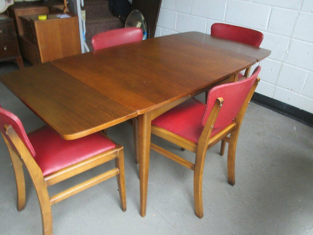 Retro Extending Dining Table Vintage Retro Style Draw Leaf Extending Dining Table With Four Red