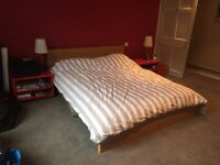 Ikea Super King Bed & Mattress, Triple Wardrobe & 2 Bedside Cabinets - all as new