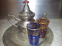 Silver Moroccan tea set with tray and 2 glasses