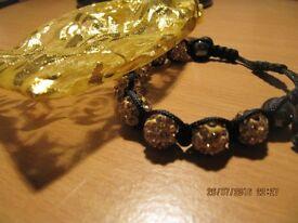 gold effect stone bracelet adjustable strap