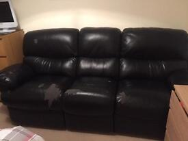FREE 3 Seater Black Double recliner Sofa FREE