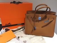 Hermes Birkin 35cm real tan brown leather silver hardware