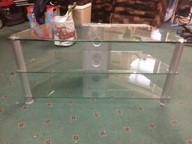 Glass 3 shelf tv stand