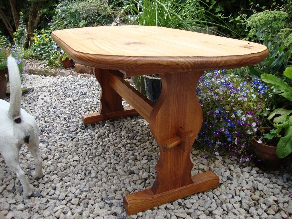 Oval Topped Solid Pine Refectory Style Coffee Table Rox 20 Inches High