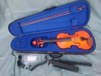 Violin, with accessories and music stand, everything needed for beginner, 3/4 size - children's