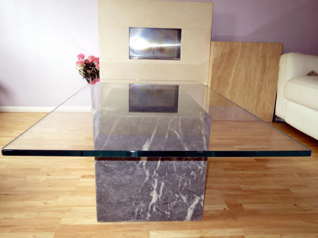 Elegant Grey Marble Glass Coffee Table In Milton Keynes Buckinghamsh