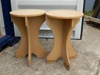 Two solid MDF round bedside tables for circular tablecloths