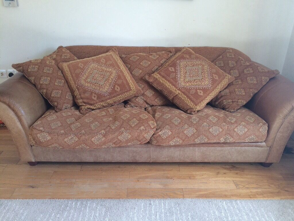 Mid Brown Leather And Tapestry Sofa Good Condition Reduced For Quick