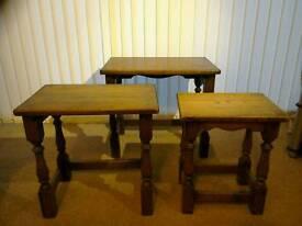 Oak side tables set of 3 nesting