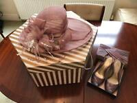 Pink hat with embellishment, Pink Sling back Sandals, Pink bag
