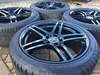 """Staggered 18"""" Mercedes CLK SLK A E C M S Class Alloy wheels & Tyres Audi VW Golf"""