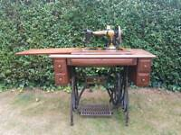 Vintage JONES folding Sewing Machine and table With serial number.
