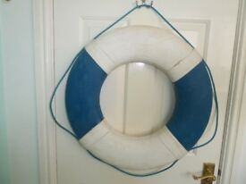Rare decorative life-belt, vintage, canvas, blue & white, for styling a room, gift suitable.