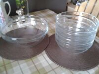 Glass Serving Bowls and 4 Small Bowls
