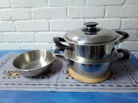 AMC 20cm Stainless Steel pan and steamer with temperature indicator lid