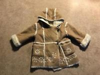 Stunning Monsoon girls winter faux fur lined hooded jacket coat 18-24mths