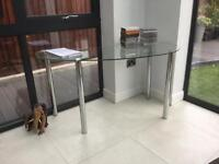 Glass desk with chrome legs