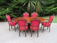 French Renaissance (Louis Rococco) Style Oak Table & Chairs