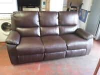 brown leather fully reclining 3 seater sofa in like new condition with tags intact