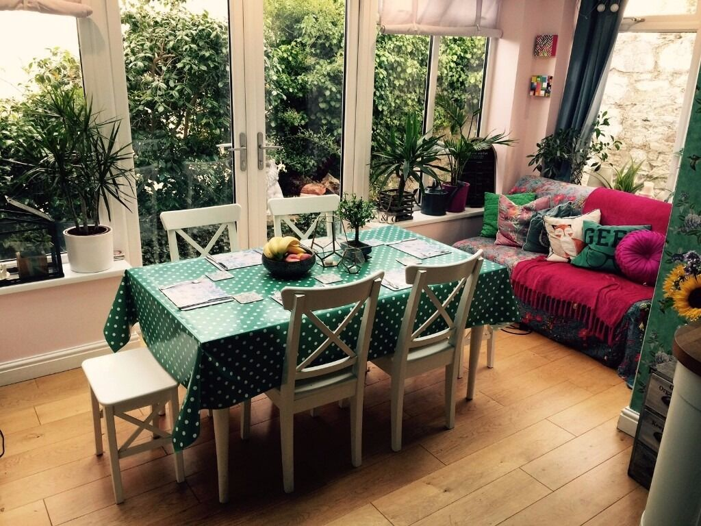 Ikea Ingolf/Ingatorp kitchen table, chairs & stools for 6 people.