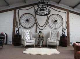 2 New Giants-Throne Buttoned Wingback Chairs (Pearl-White)
