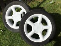 Four Ford rs wheels white good condition new tyres all round