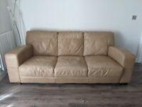 Italian made tan leather sofas