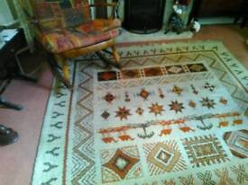Large wool aztec design patterned rug