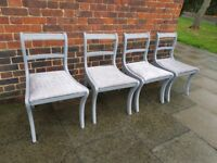 Vintage regency boutique style dining chairs x 4. Rustic/shabby chic/grey velvet. LOCAL DELIVERY.