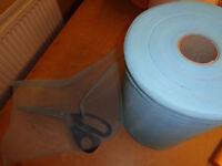"100 metre Roll of Light Turquoise / Burgundy Non-Fray Nylon Chiffon Wedding Fabric x 11"" wide"