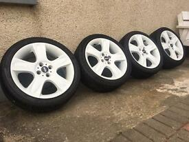 Set of 4 17inch Mini Cooper S Bullet Alloys and Tyres