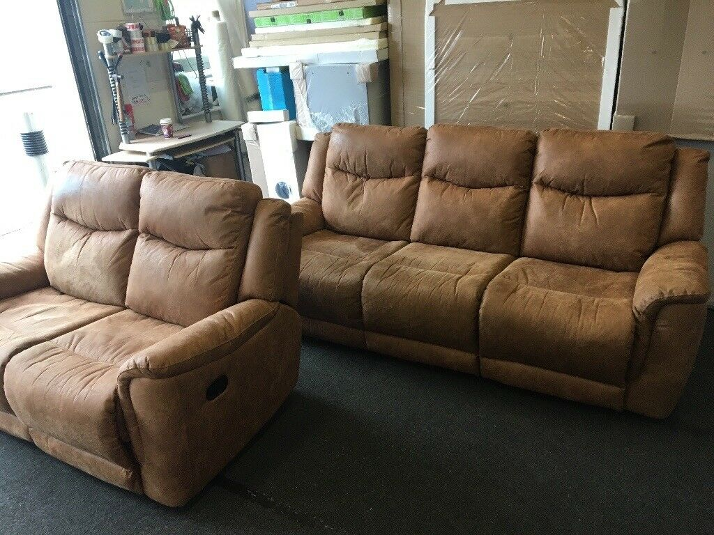 Harveys 3 and 2 seater suede recliners (FREE DELIVERY)
