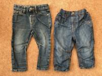 Two pairs of boys jeans size 12-18 months