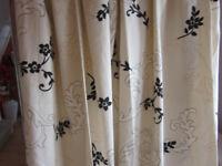 Cream with Japanese design curtains 54 x 90 three pairs