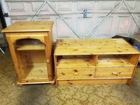 Various pine furniture. 2 x Cupboards, TV table, HiFi Glass Cabinet