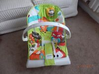 FISHER PRICE BOUNCER WITH DETACHABLE BAR AND CALMING VIBRATIONS ON /OFF