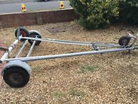 Galvanised road trailer with mating launch trolley suitable for sailing boats up to 15ft.