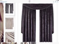 Black velvet floor length curtains with beaded swag Laurence Llewelyn-Bowen heavy weight
