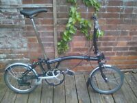 Black Brompton 2 speed S Type, excellent condition and service history